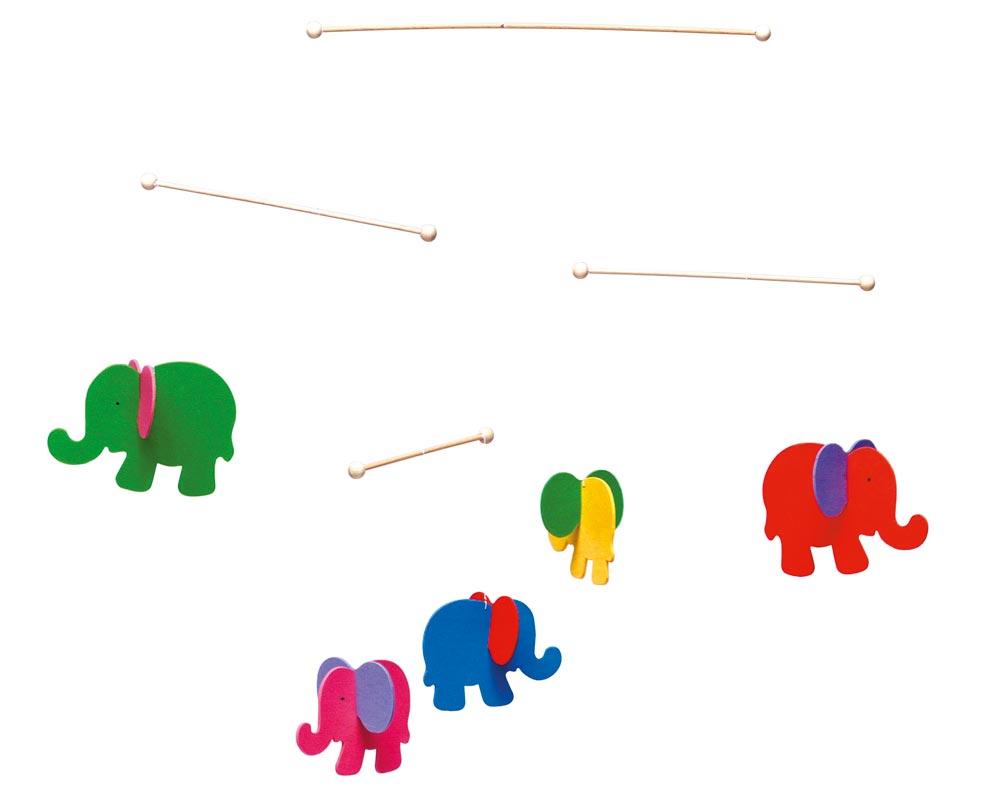 Holz buntes Mobile mit Elefanten