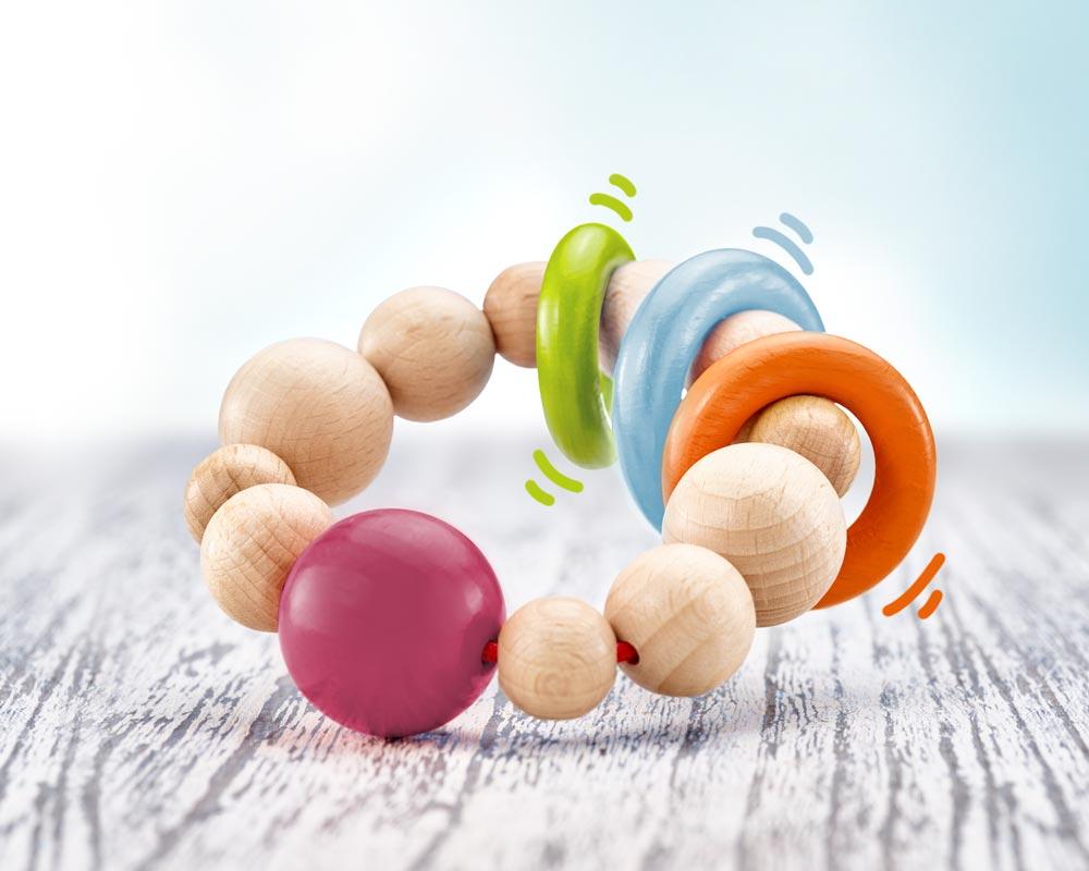 Holz bunter runder Greifling mit Ringen und Kugeln