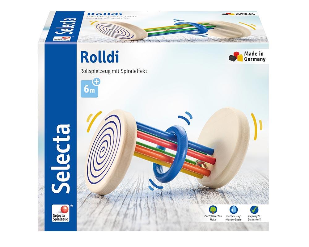 Verpackung Holz buntes Rollspielzeug mit Stäben, Ring und Spiraleffekt