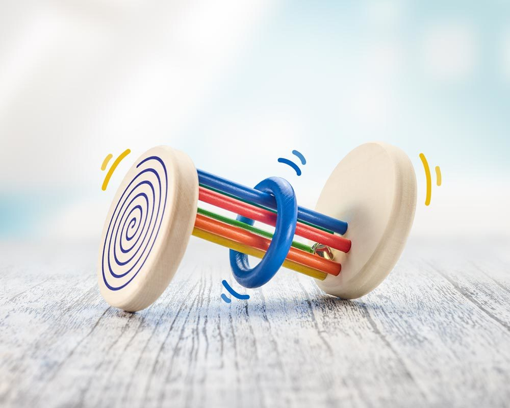 Holz buntes Rollspielzeug mit Stäben, Ring und Spiraleffekt