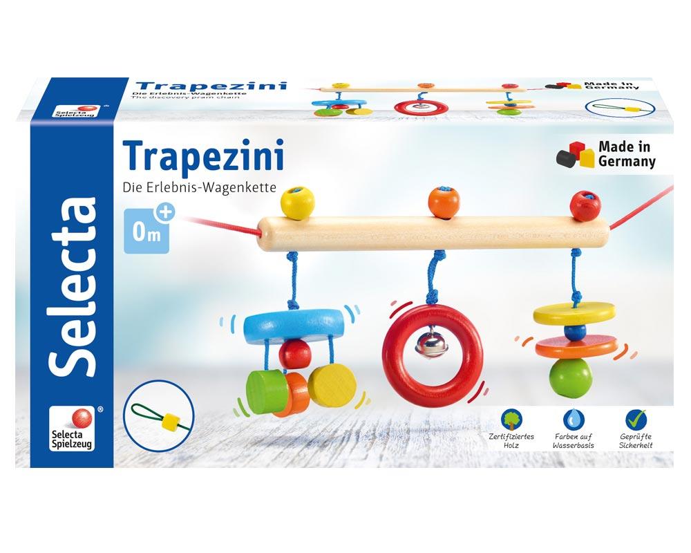 Verpackung Holz bunte Kinderwagenkette mit Ringen, Scheiben und Glöckchen