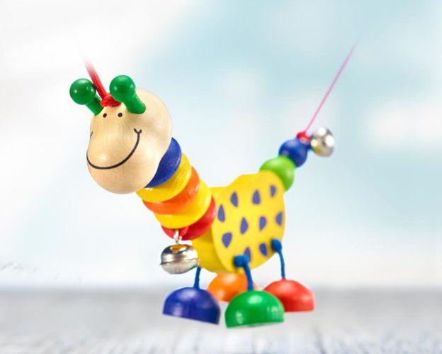 Holz bunte Kinderwagenkette Giraffe mit Glöckchen