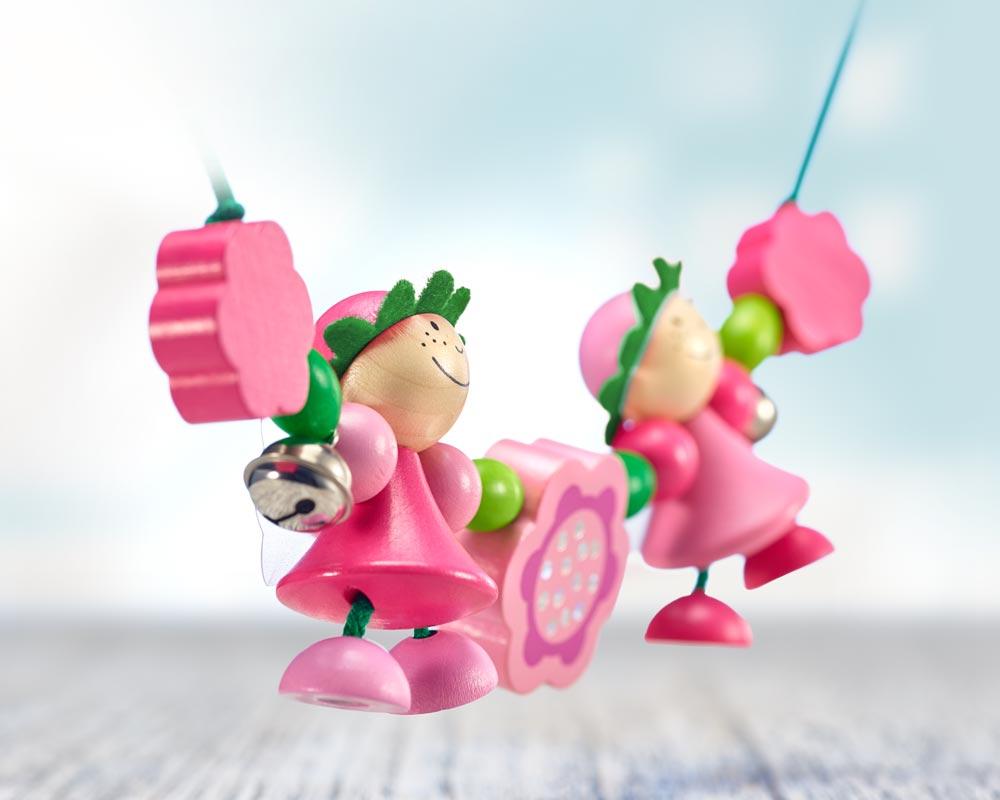 Holz rosa Kinderwagenkette mit Feen und Blumen