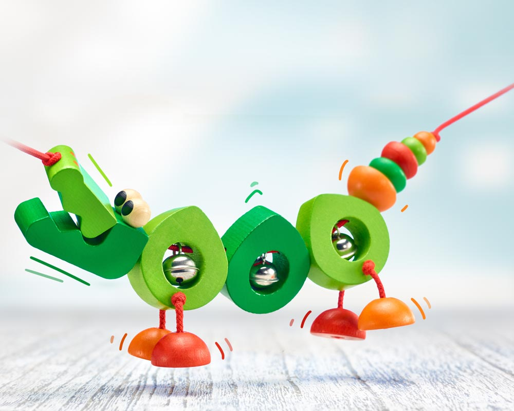 Holz grüne Kinderwagenkette Krokodil mit Glöckchen