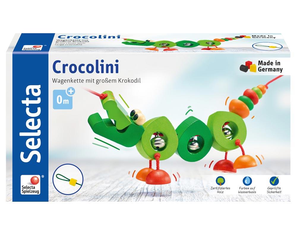 Verpackung Holz grüne Kinderwagenkette Krokodil mit Glöckchen