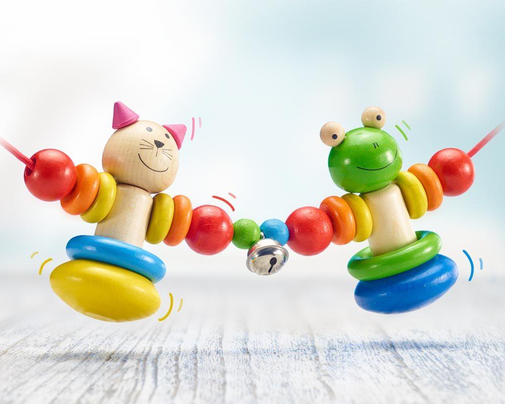Holz bunte Kinderwagenkette mit Frosch und Katze und Glöckchen