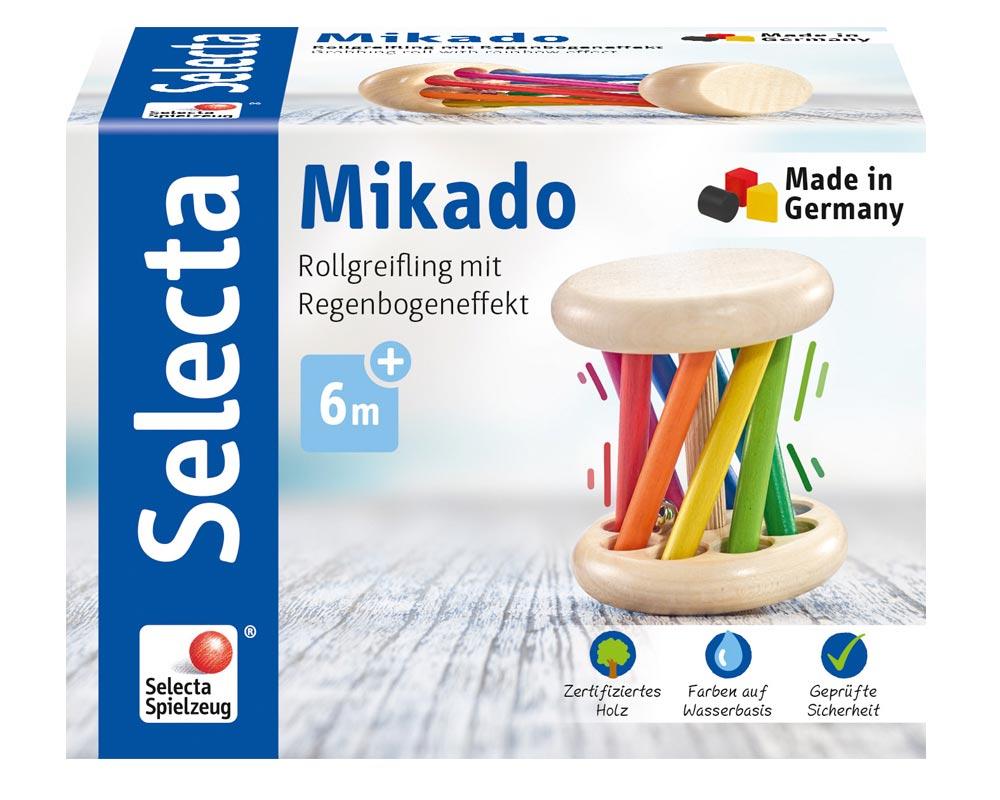 Verpackung Holz bunter Rollgreifling mit Stäbchen, Glöckchen und Regenbogeneffekt