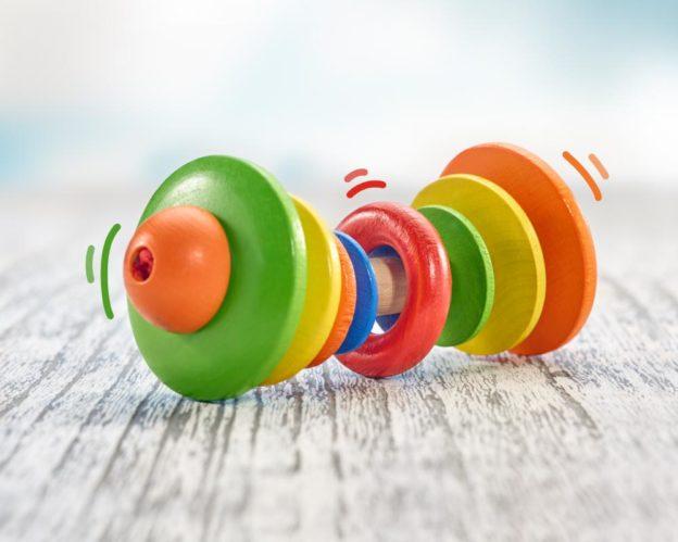 Holz buntes Rollspielzeug mit Ring aus Massivholz