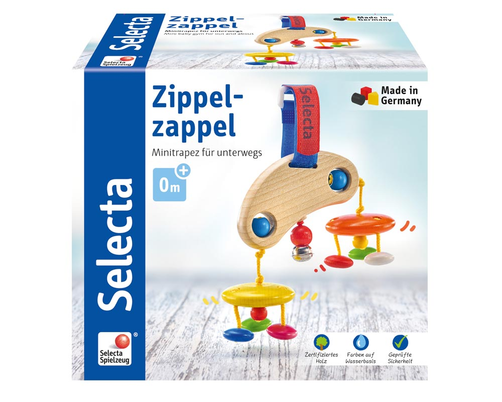 Verpackung Holz buntes Mini Trapez mit hängenden Holzklötzchen, Glöckchen und Klettverschluss