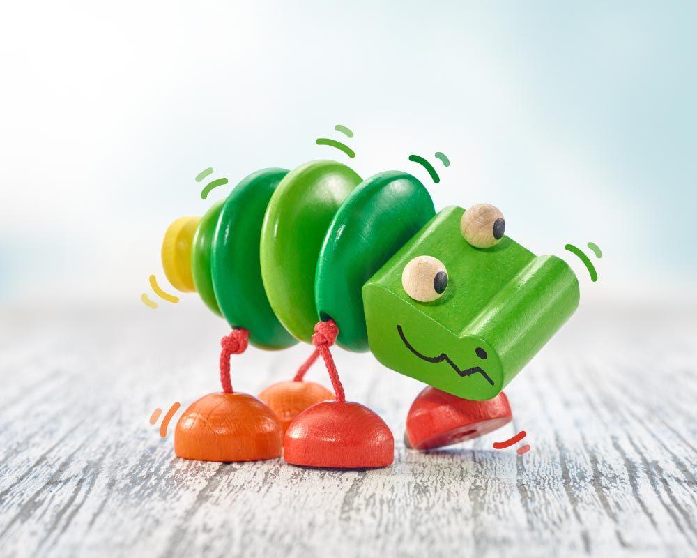 Holz grünes Klapper-Krokodil