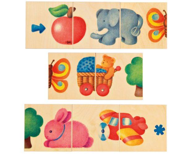 Holz Legespiel Bilderkette mit verschiedenen Motiven