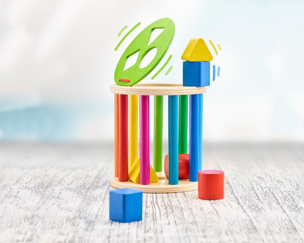 Holz bunte Sortierolle mit verschieden farbigen Holzklötzen