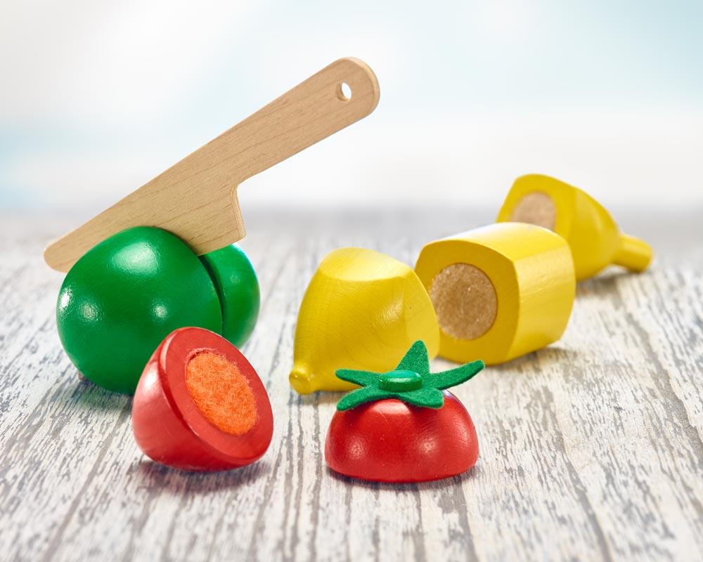 Holz bunte Klettspielsteine Obst, Kiwi, Banane, Tomate