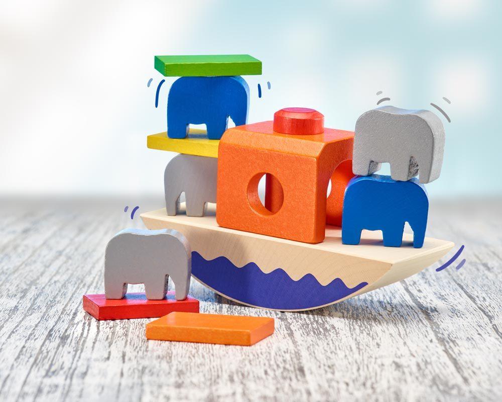 Holz buntes Balancespiel mit Boot und Elefanten