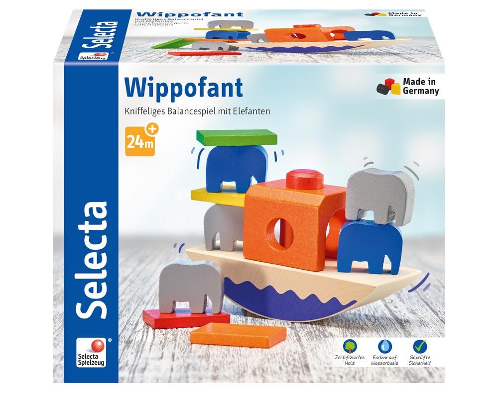 Verpackung Holz buntes Balancespiel mit Boot und Elefanten