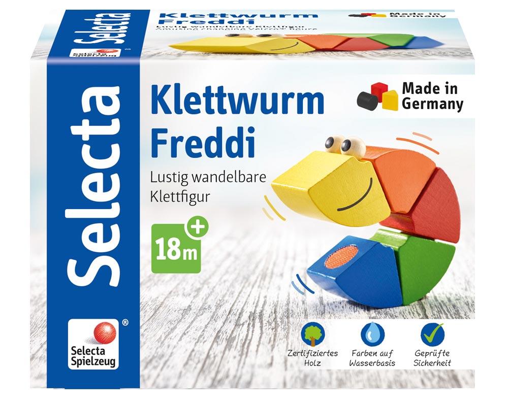 Verpackung Holz bunter Steckspiel-Klettwurm