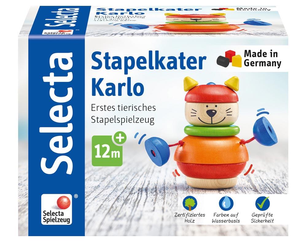 Verpackung Holz Stapelspiel Kater Karlo