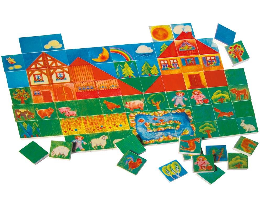 Holz Landschaft Legespiel 80 Tafeln