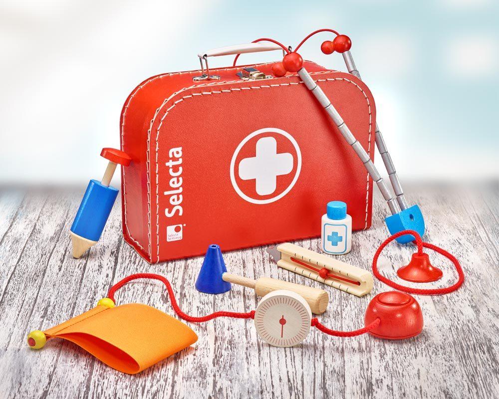 Holz roter Arztkoffer für Kinder mit Stethoskop, Fieberthermometer, Blutdruckmesser, Spritzer und Klopghammer