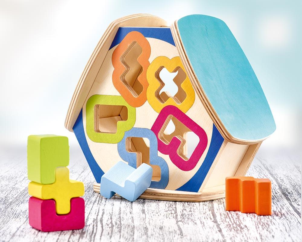 Holz Sortierspiel mit bunten Bauklötzen und komplexen Formen