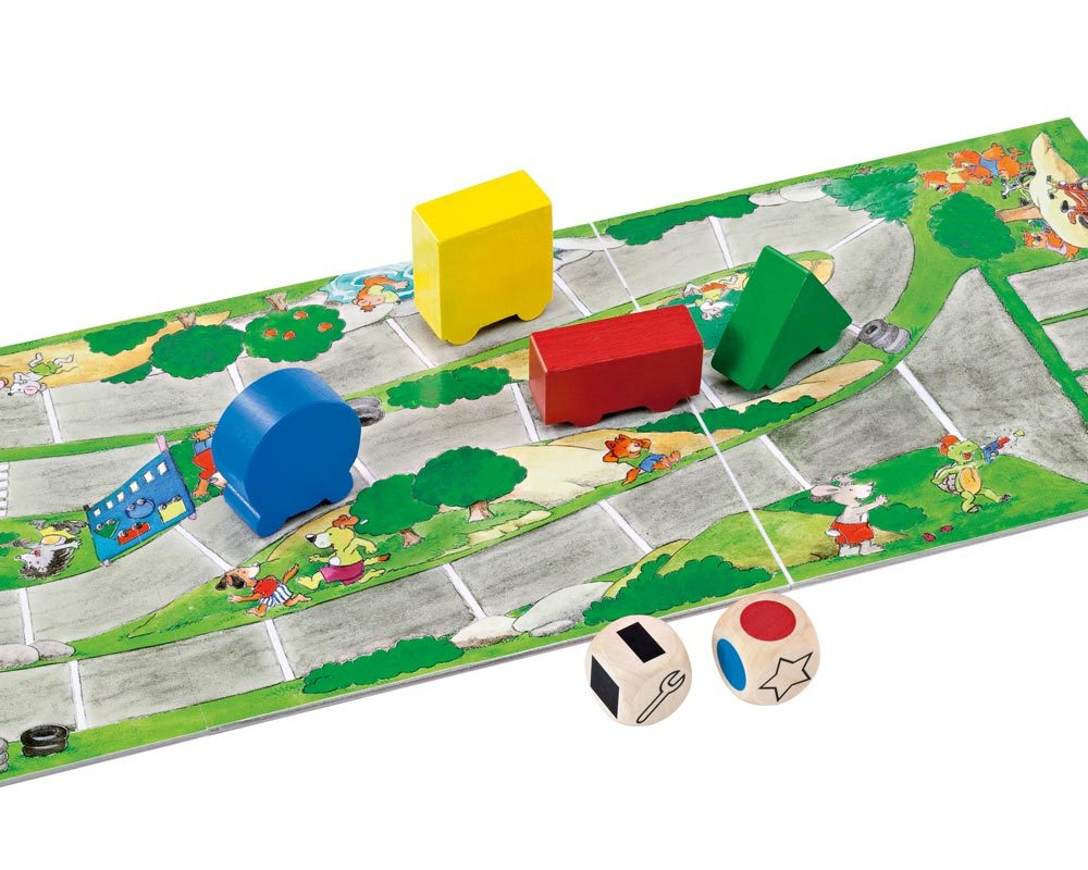Holz Würfelspiel mit farbigen Autos und Spielbrett