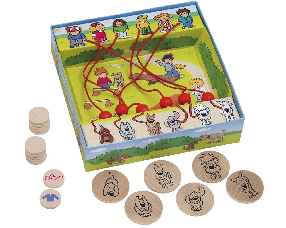 Holz Labyrinthspiel mit Hunden und den Spielchips