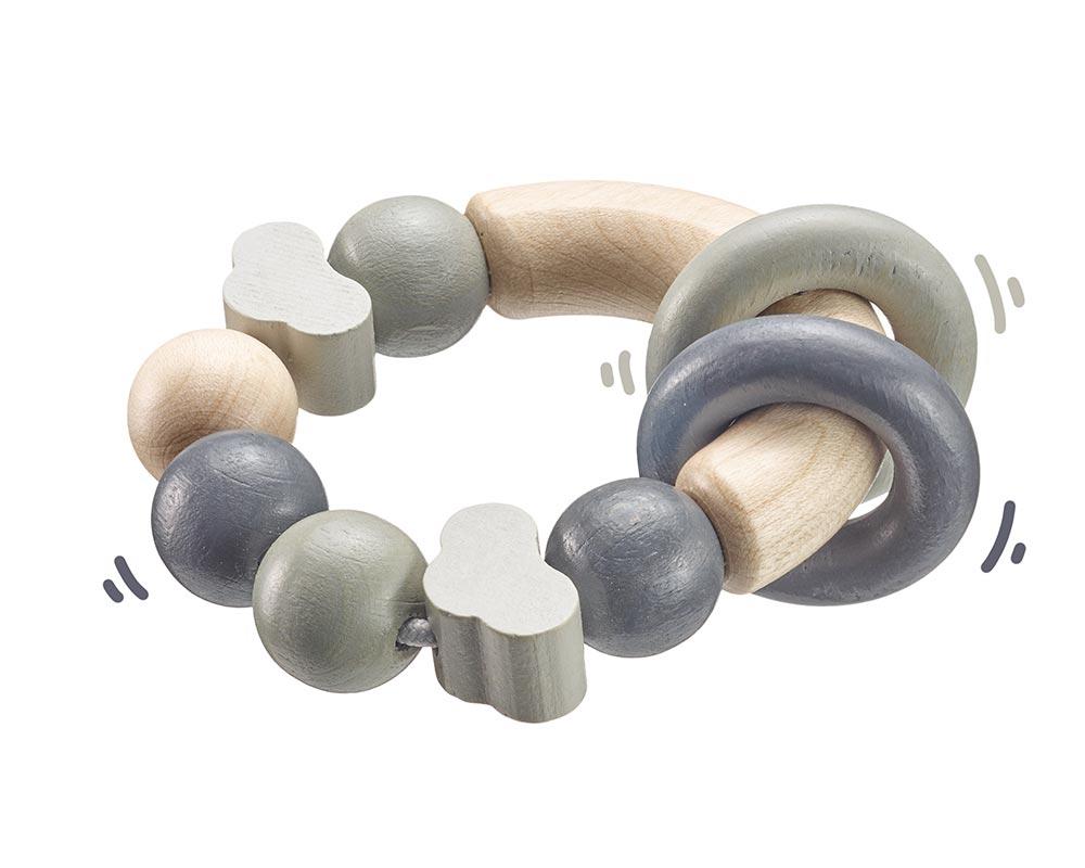 Holz grauer runder Greifling mit Ringen und Wölkchen