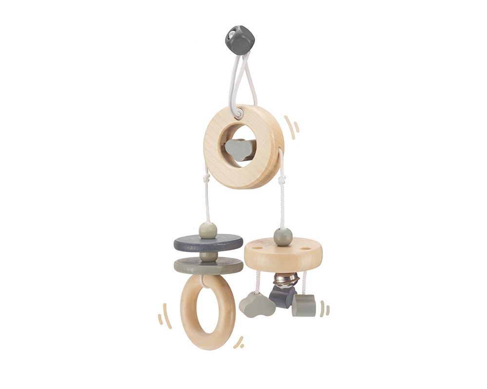Holz graues Mini Trapez mit Wölkchen, Ringen und Sternen