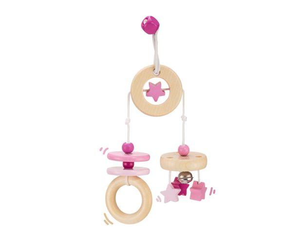 Holz rosa Mini Trapez mit Wölkchen, Ringen und Sternen