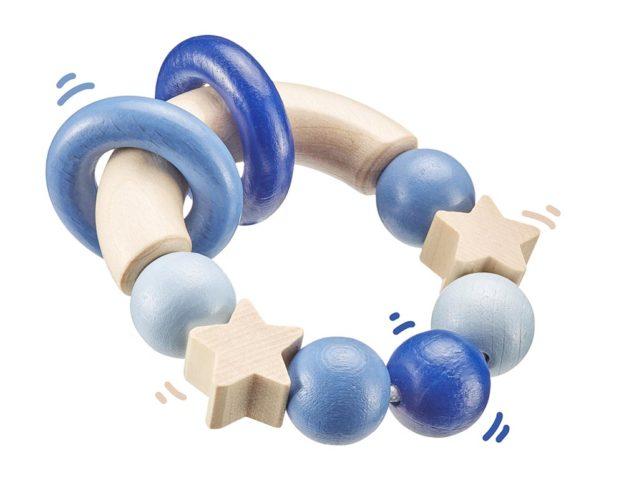Holz blauer runder Greifling mit Ringen und Sternchen