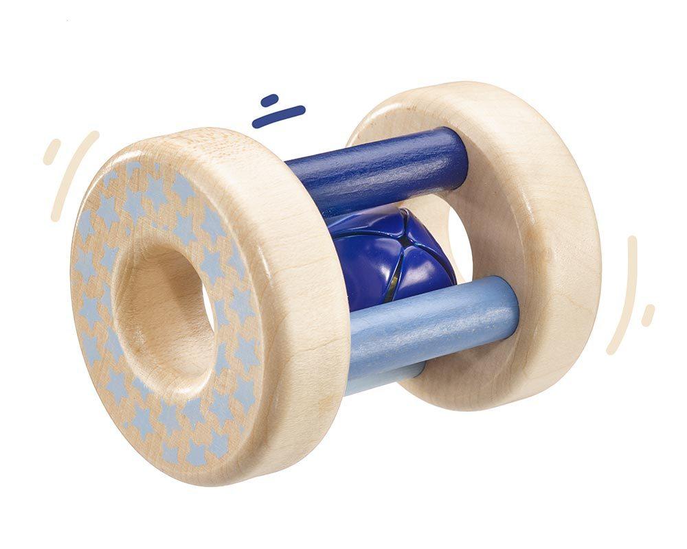 Holz blaue rollende Holzrassel mit Glöckchen