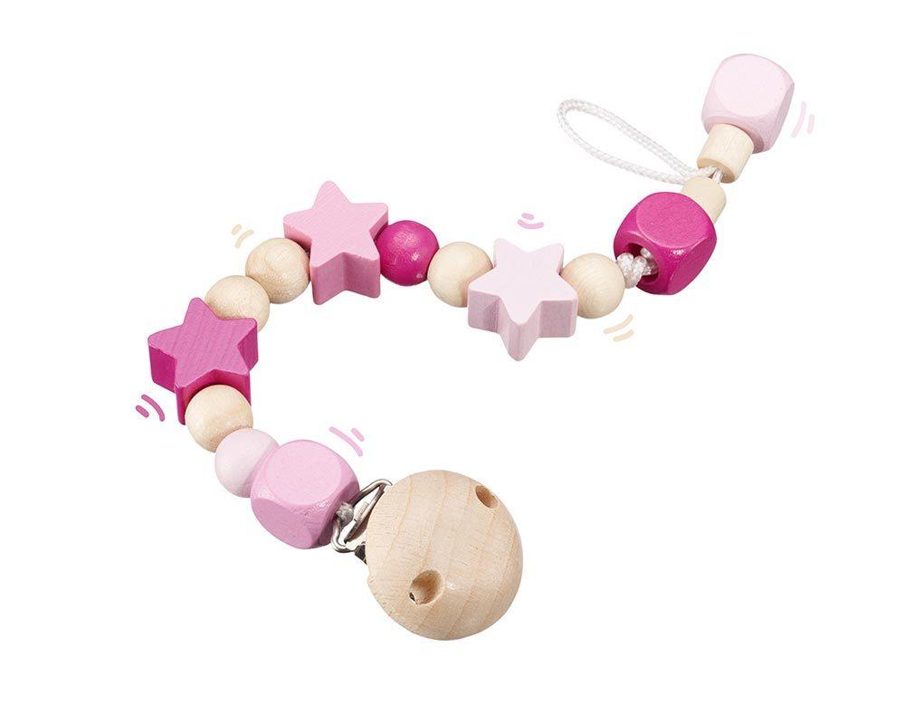 Holz rosa Schnullerkette mit Holzsternen