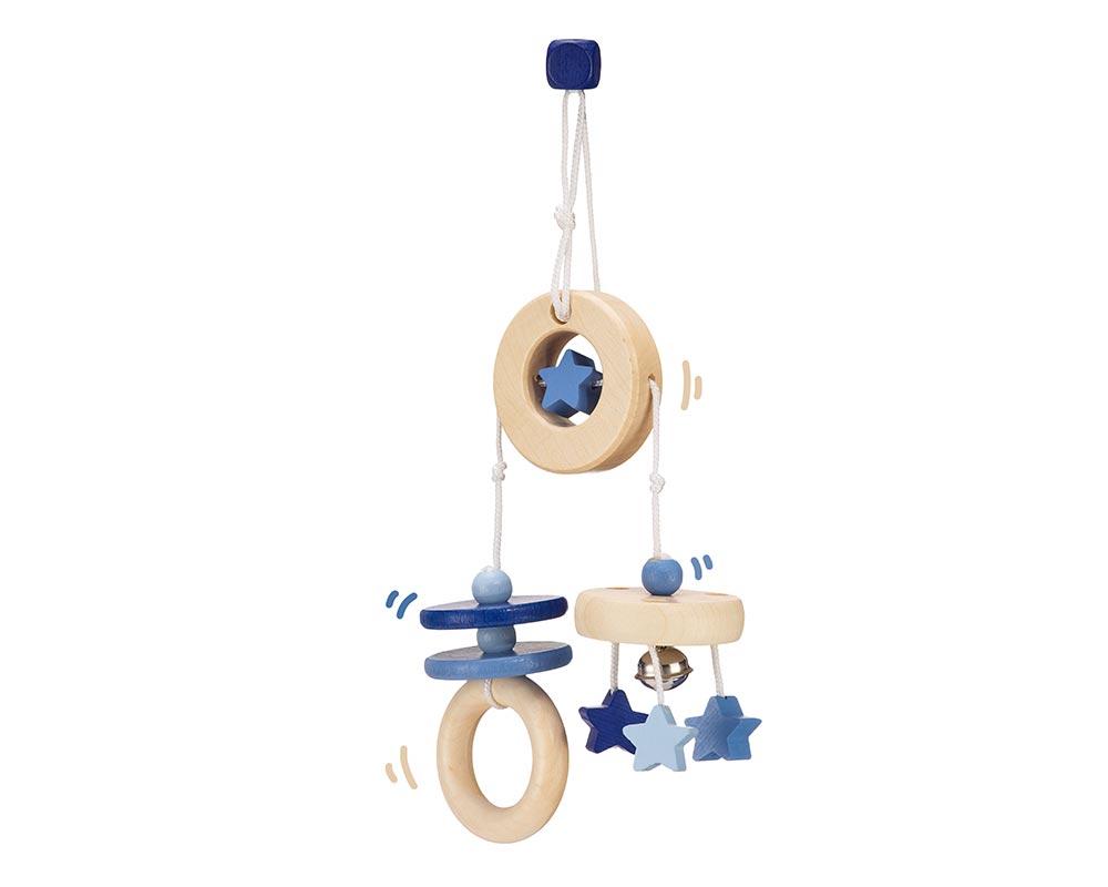 Holz blaues Mini Trapez mit Glöckchen, Ringen und Sternen