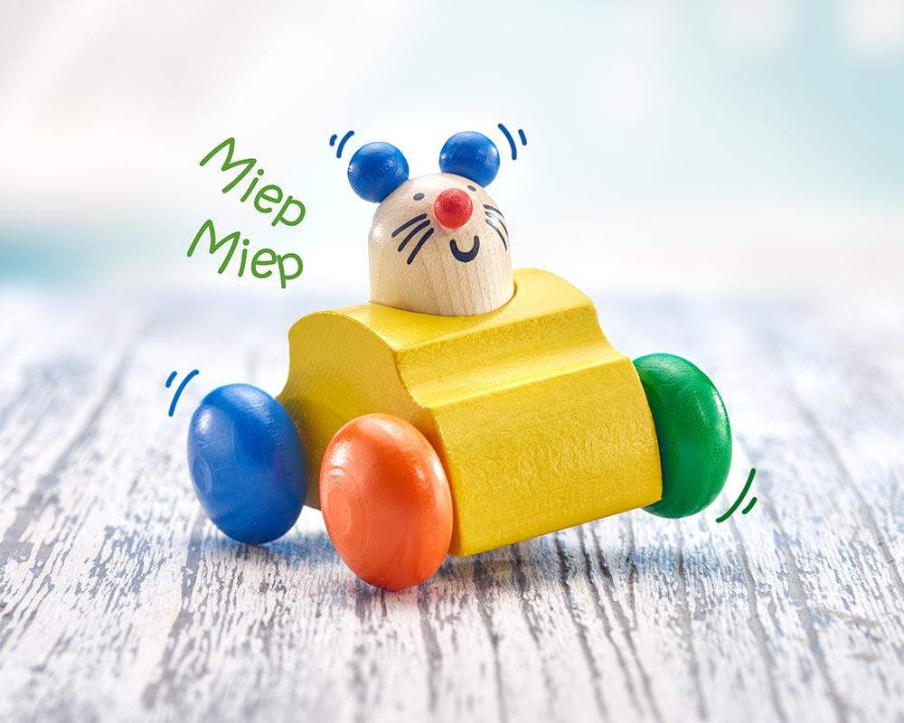 Holz buntes Rollspielzeug Greifling mit Maus und Hupe