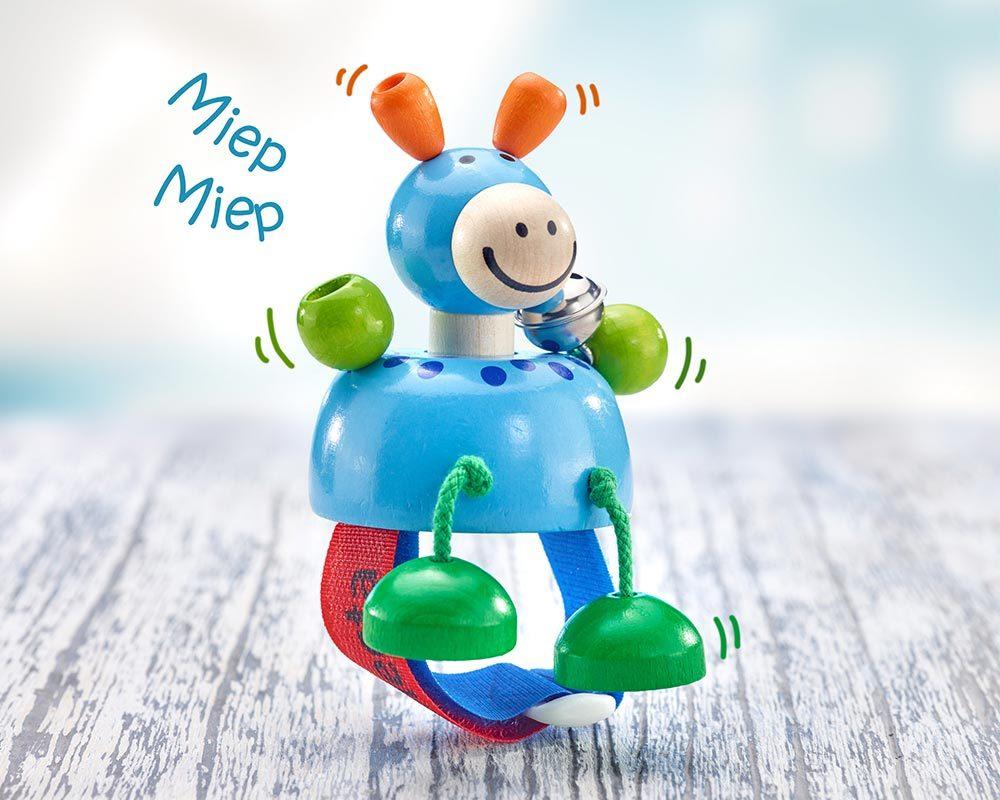 Holz Buggyspielzeug mit Klettverschluss quietsche