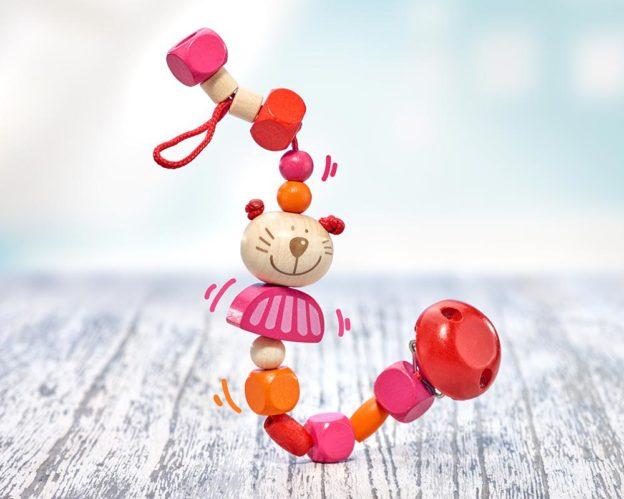 Holz rosa Schnullerkette mit Katze und Holzklötzchen