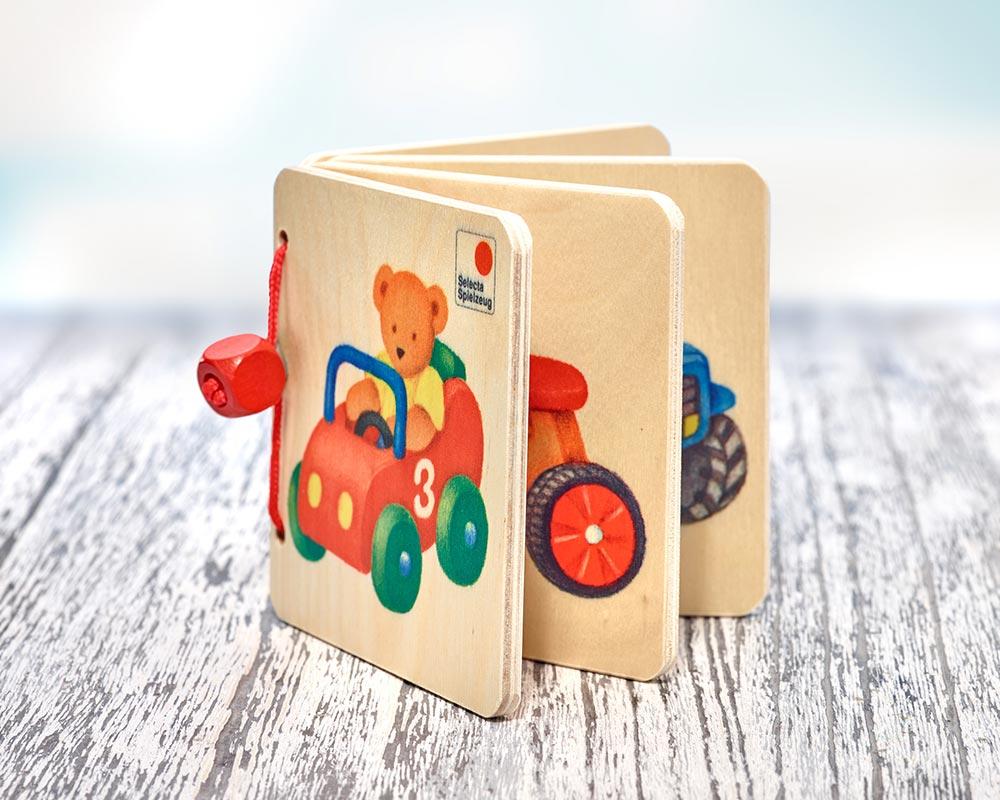 Holz Bilderbuch mit Bär, Dreirad und Auto