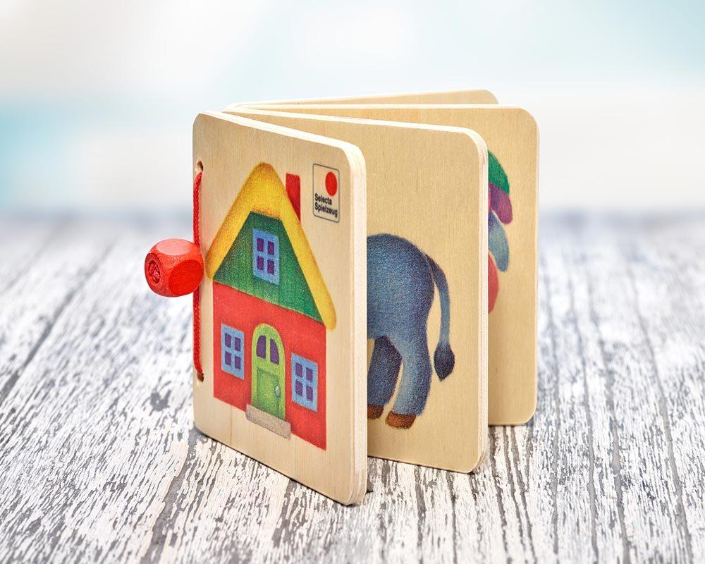 Holz Bilderbuch mit Haus, Esel und Hahn