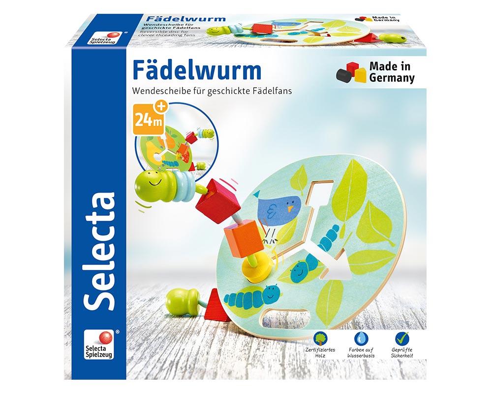 Verpackung Wendelscheibe mit buntem Fädelwurm