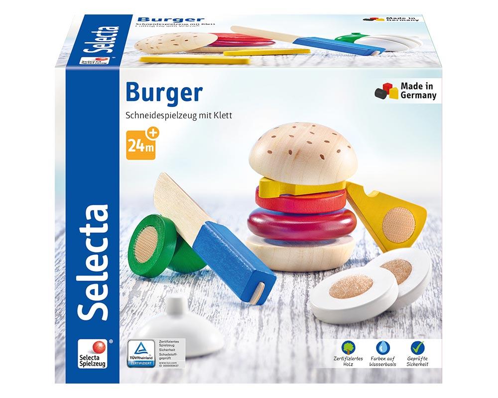 Verpackung Holz bunte Klettspielsteine Burger mit Käse, Zwiebel, Tomate, Fleisch und Holzmesser