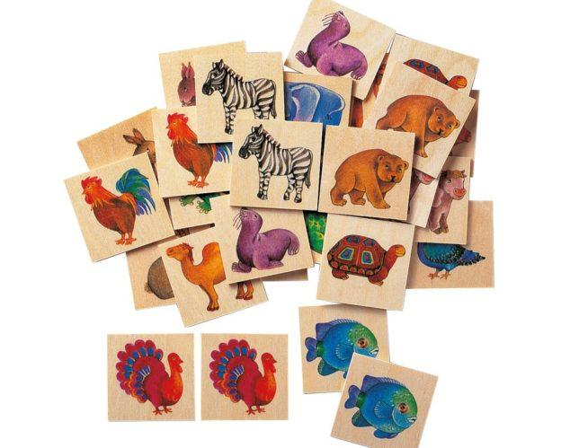 Holz Bildermemo mit Tiermotiven, Bär, Zebra, Fisch, Truthahn, Schildkröte, Kamel, Robbe, Kuh, Elefant, Vogel