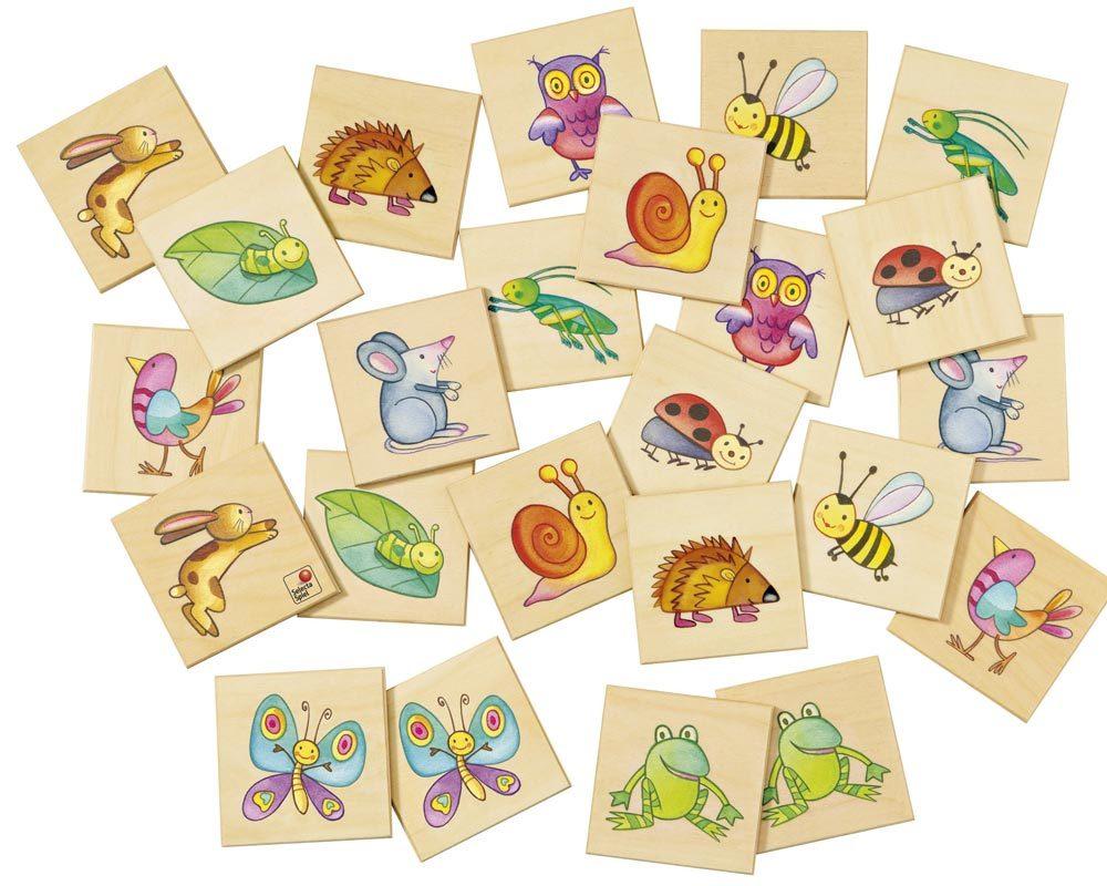 Holz Bildermemo mit Tiermotiven, Biene, Igel, Eule, maus, Grille, Schmetterling, Hase, Marienkäfer, Raupe, Frosch, Schnecke, Vogel