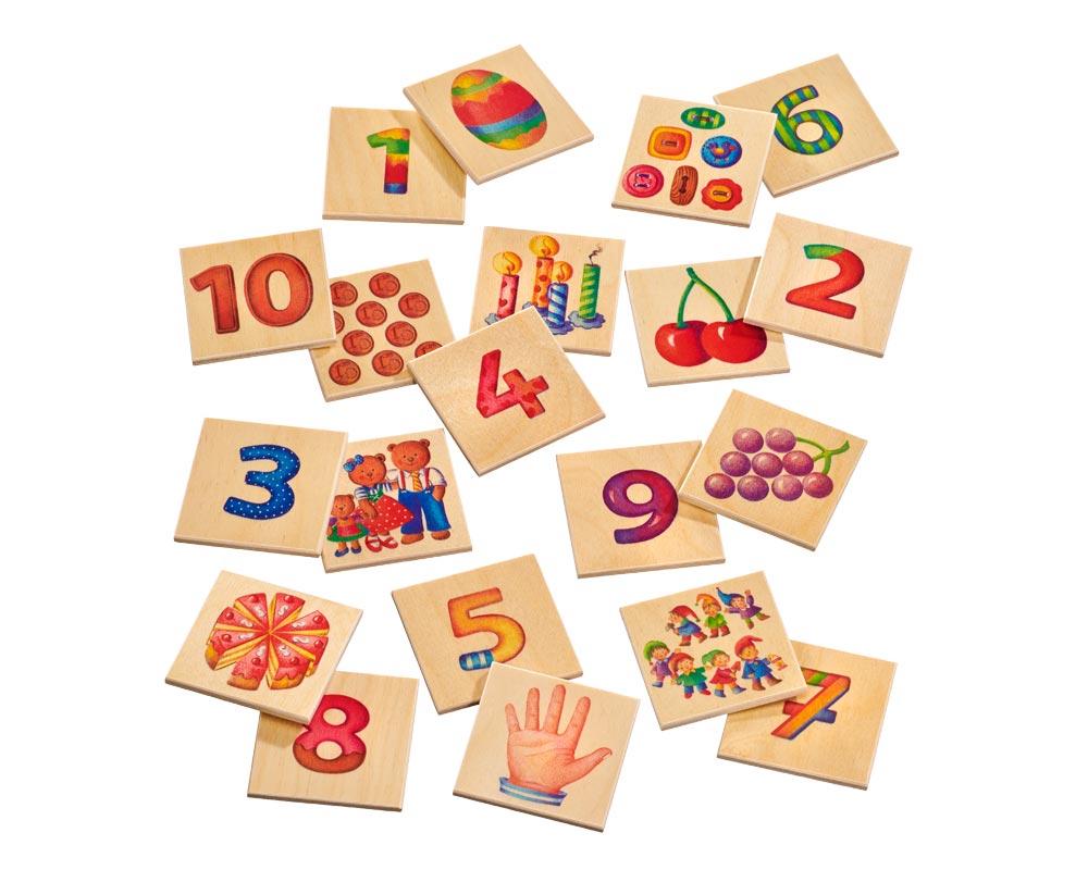 Holz Bildermemo mit Zahlen und Bildern