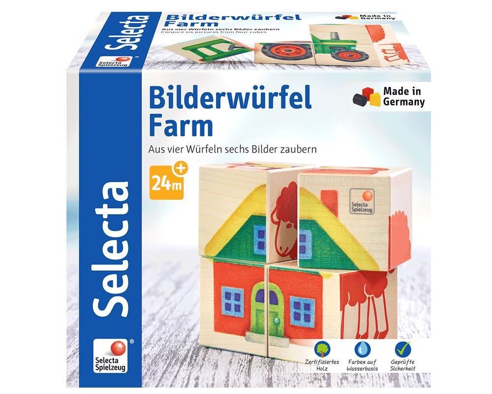 Verpackung Vier Bilderwürfel aus Holz mit 6 Farmmotiven