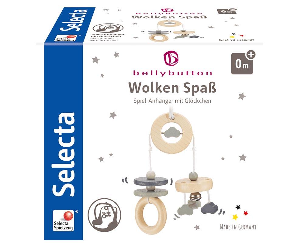 Verpackung Holz graues Mini Trapez mit Wölkchen, Ringen und Sternen