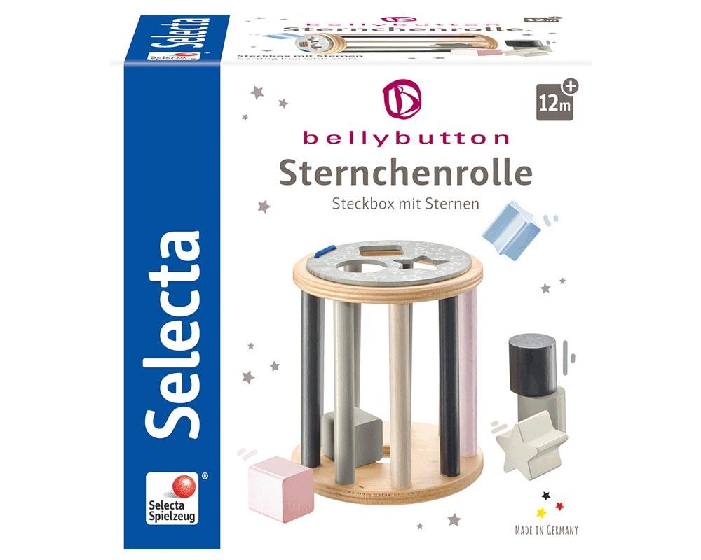 Verpackung Steckbox mit bunten Holzsteinen in verschiedenen Formen