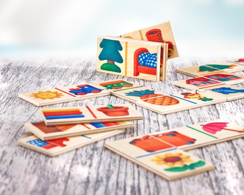 Holz Legespiel Bilderschlange mit verschiedenen Motiven