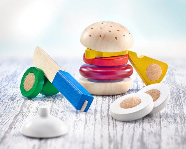 Holz bunte Klettspielsteine Burger mit Käse, Zwiebel, Tomate, Fleisch und Holzmesser