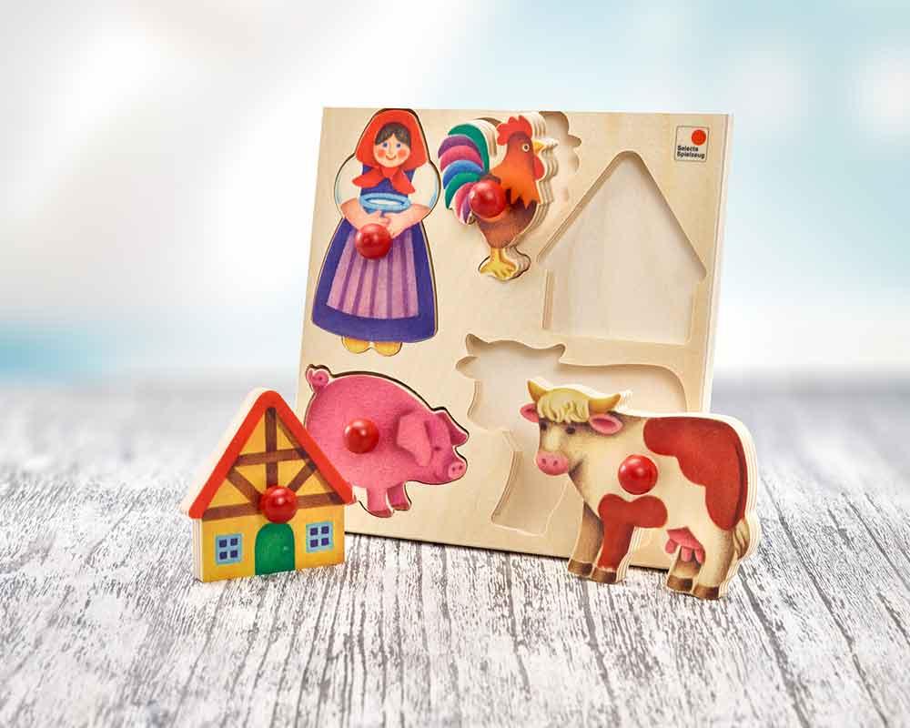 holz steckpuzzle Bauernhof für babys mit Frau, Hahn, Schwein, Kuh, und Haus
