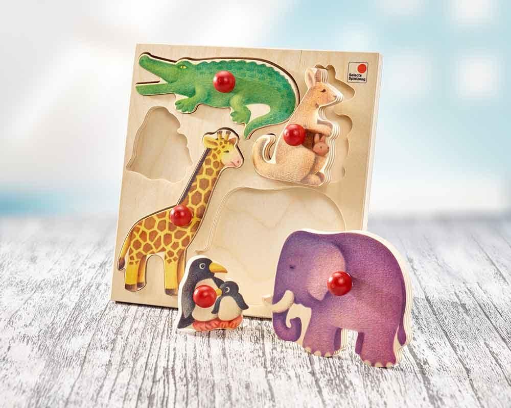 holz steckpuzzle Zoo für babys mit Kängeru, Giraffe, Elefant, Pinguin, Krokodil